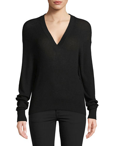 Autumn Cashmere Ribbed Hi-Lo Cashmere Sweater-BLACK-Medium