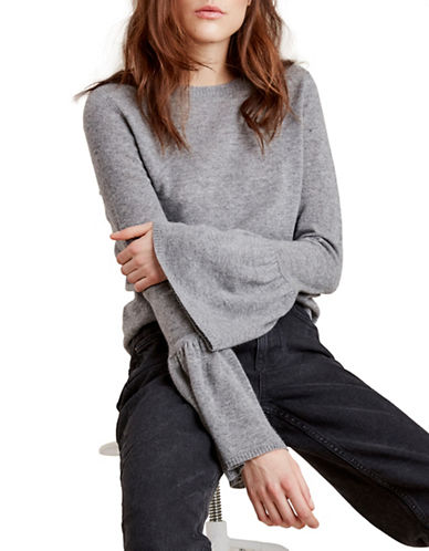 Autumn Cashmere Cashmere Bell Sleeve Sweater-GREY-Large