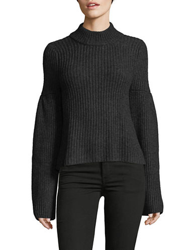 Autumn Cashmere Cropped Cashmere-Blend Sweater-GREY-Small