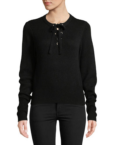 Autumn Cashmere Lace Up Cashmere-Blend Sweater-BLACK-Medium 89656192_BLACK_Medium