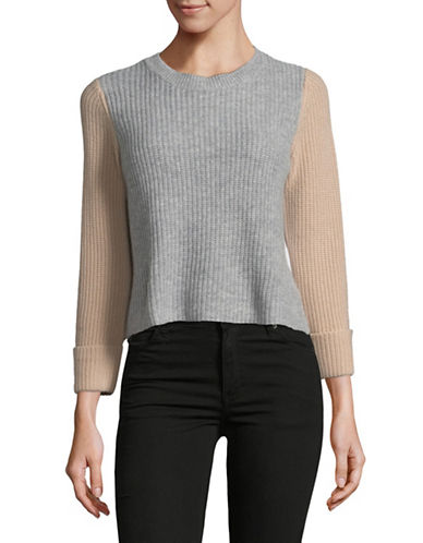 Autumn Cashmere Crop Colourblock Cashmere Sweater-NEUTRAL-Medium