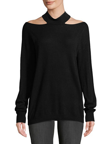 Autumn Cashmere Slash Mockneck Cashmere Sweater-BLACK-Small