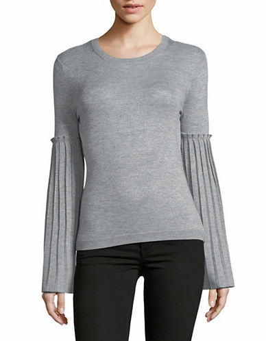 Autumn Cashmere Pleated Trumpet-Sleeve Top-TINSEL-X-Large