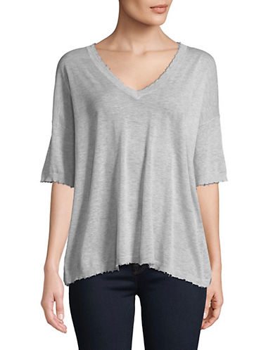 Autumn Cashmere Distressed Relaxed V-Neck Top 89949527