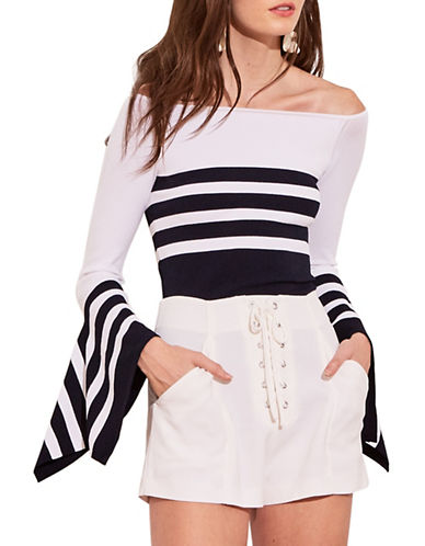 Autumn Cashmere Striped Off-The-Shoulder Top 89896928