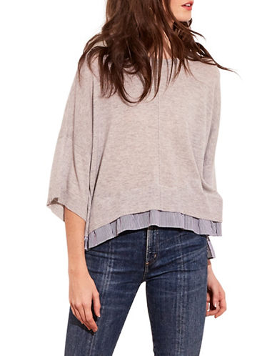 Autumn Cashmere Striped Underlay Hi-Lo Boxy Cashmere Top-FOG-Large