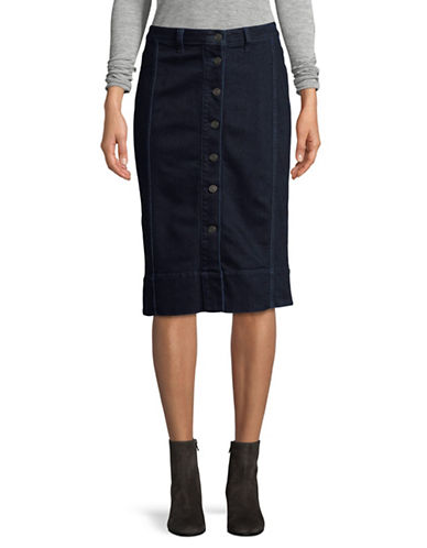 Lord & Taylor Petite Washed Denim Skirt-DARK BLUE-Petite 12