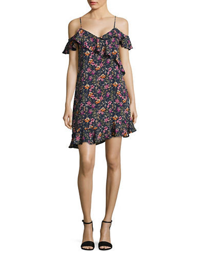 Design Lab Lord & Taylor Cold-Shoulder Shift Dress-BLUE MULTI-Small