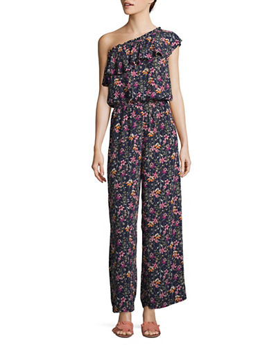 Design Lab Lord & Taylor One-Shoulder Jumpsuit-BLUE MULTI-Medium