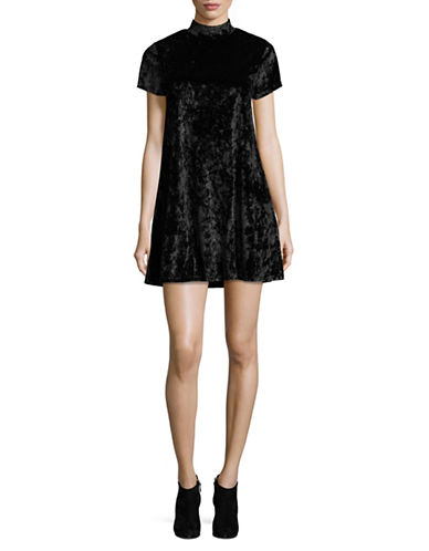 Design Lab Lord & Taylor Velvet Mock Neck Swing Dress-BLACK-Small