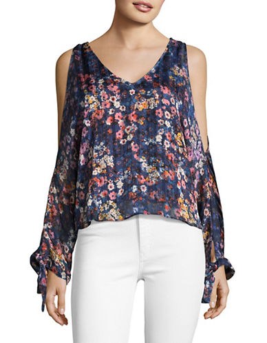 Design Lab Lord & Taylor Floral-Printed Cold-Shoulder Blouse-BLUE MULTI-Large