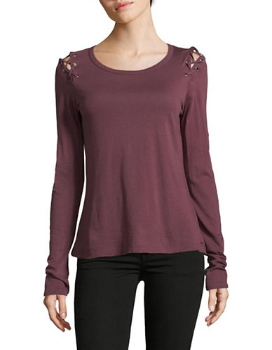 Philanthropy Darcia Lace Cotton Long-Sleeve Top-RED-Small