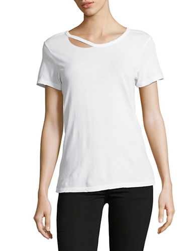 Philanthropy Femi Lace Back Cotton Tee-WHITE-Small