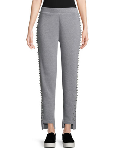 Design Lab Lord & Taylor Faux Pearl-Trimmed Pants-GREY-Small