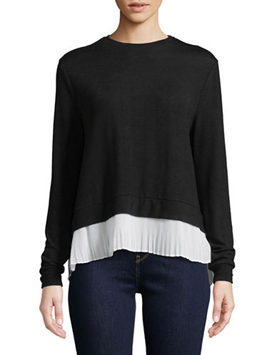 Design Lab Lord & Taylor Pleated Chiffon Slit Back Sweater-BLACK-Medium