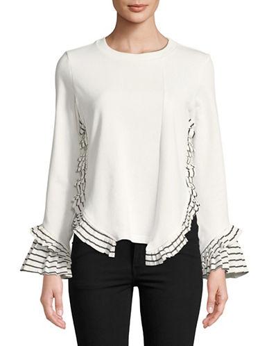 Design Lab Lord & Taylor Ruffle Slide Slit Cotton Sweatshirt-WHITE-Small