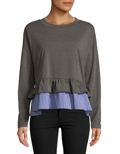 Design Lab Lord & Taylor Mock-Layered Ruffle Sweatshirt-GREY-Medium