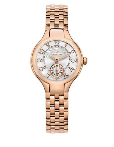 Philip Stein Round Rose Goldtone Stainless Steel Bracelet Watch-ROSE GOLD-One Size