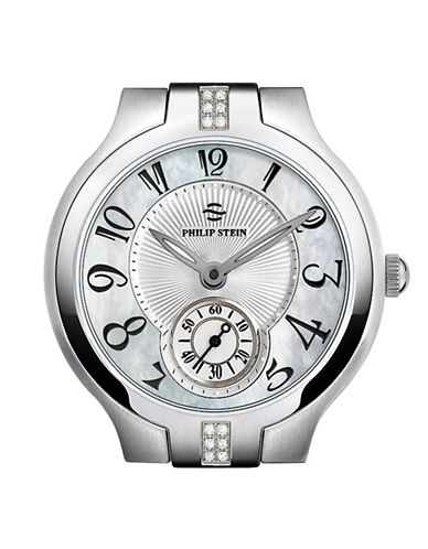 Philip Stein Small Round Sport Diamond Watch Head MOP Dial-SILVER-One Size