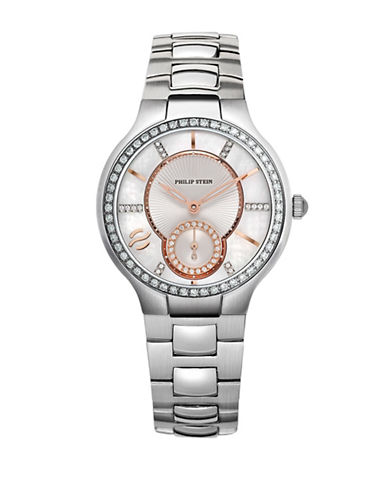 Philip Stein Diamond Detailed Analog Watch-SILVER-One Size