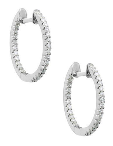Fine Jewellery Diamond and 14K White Gold Hoop Earrings-WHITE GOLD-One Size