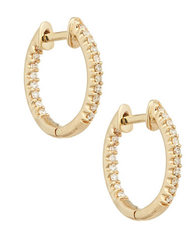 Fine Jewellery Diamond and 14K Yellow Gold Hoop Earrings-YELLOW GOLD-One Size