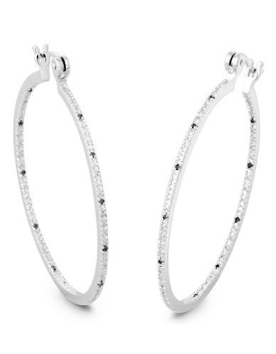 Fine Jewellery Silver Diamond Inside Out Hoop Earring-DIAMOND-One Size