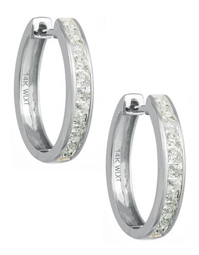 Fine Jewellery Channel Set Diamond and 14k White Gold Hoop Earrings Box Set-WHITE GOLD-One Size
