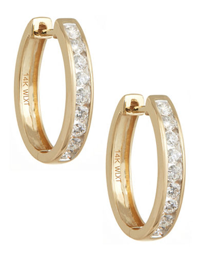 Fine Jewellery Channel Set Diamond and 14k Yellow Gold Hoop Earrings Box Set-GOLD-One Size