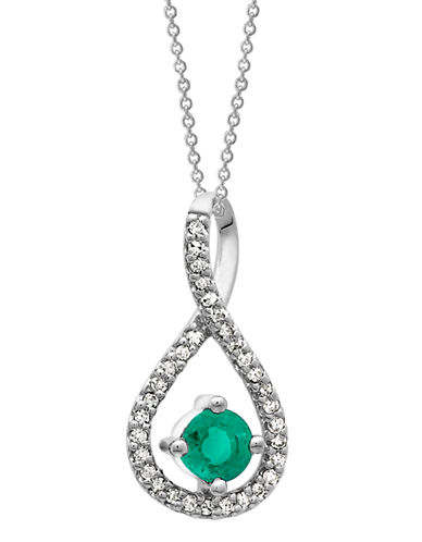 Fine Jewellery Silver Emerald and Diamond Infinity Pendant-EMERALD-One Size