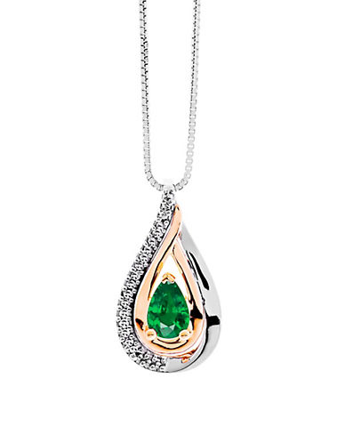 Fine Jewellery Diamond and Emerald Infinity Pendant Necklace-EMERALD-One Size