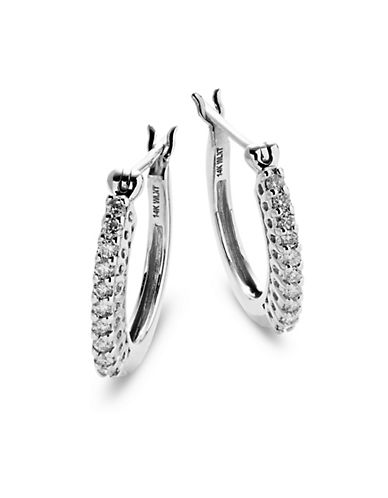 Fine Jewellery 14k White Gold Hoop Earrings with 0.25 Total Carat Weight Diamonds-DIAMOND-One Size