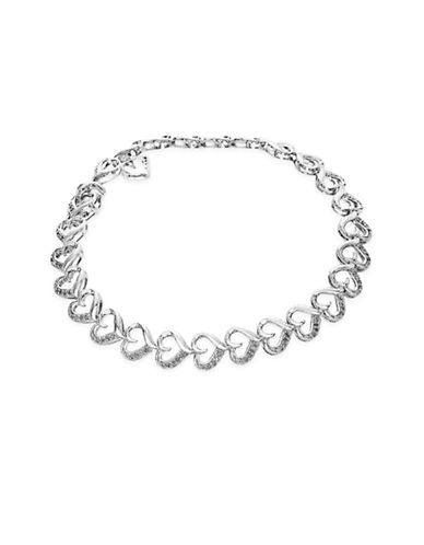 Fine Jewellery Sterling Silver Heart Link Bracelet with 0.45 Total Carat Weight Diamonds-SILVER-One Size