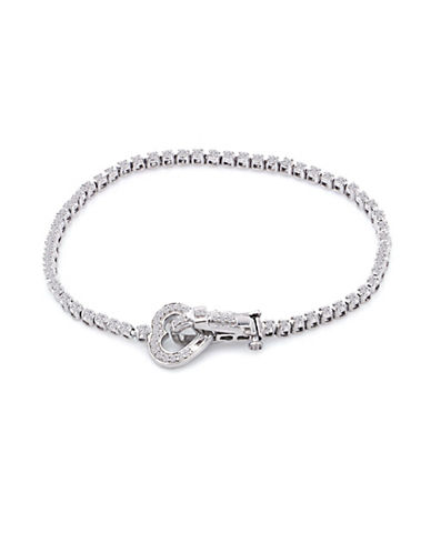 Fine Jewellery Sterling Silver Heart Clasp Bracelet with 0.52 Total Carat Weight Diamonds-SILVER-One Size