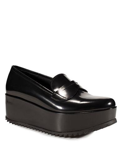 Pedro Garcia Norberta Leather Flatform Penny Loafers-BLACK-EUR 39/US 9