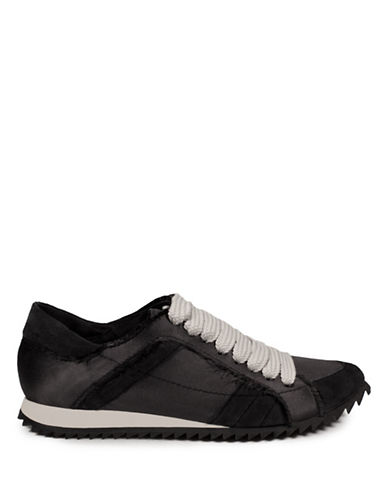 Pedro Garcia Frayed Trainer Low Top Sneakers-BLACK-EUR 36/US 6