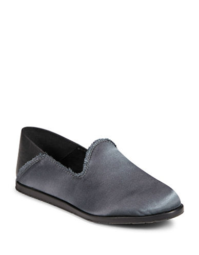 Pedro Garcia Frayed Satin Slippers-GUNMETAL-EUR 40/US 10