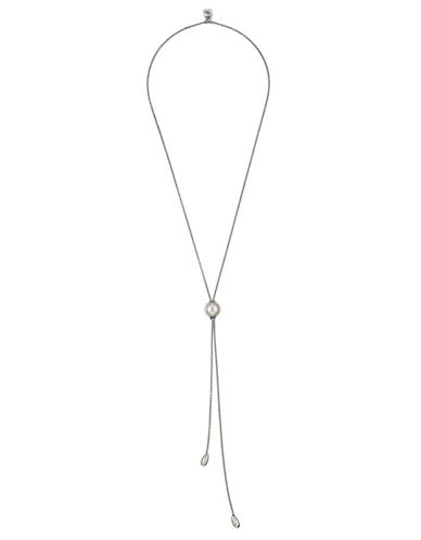 Uno De 50 Pearl Lariat Necklace-SILVER-One Size