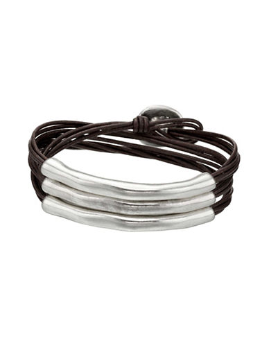Uno De 50 Sterling Silver and Leather Not To Be Bracelet-BLACK-One Size