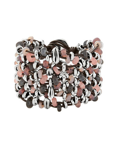 Uno De 50 Madness Crystal and Leather Bracelet-MULTICOLOR-Medium