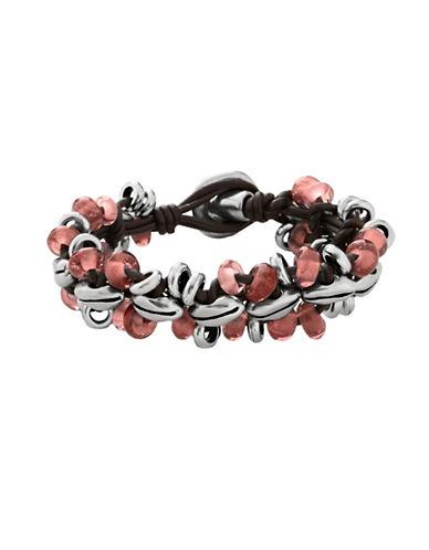 Uno De 50 Flora Crystal and Leather Bracelet-MULTICOLOR-Medium
