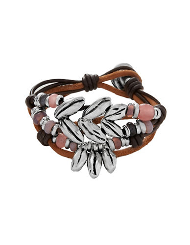 Uno De 50 Crystal Boho Bracelet-PINK-Medium