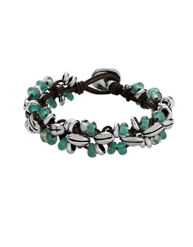 Uno De 50 Espiga Leather and Silver Bracelet-GREEN-One Size