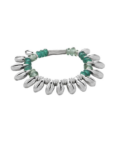Uno De 50 Dew Leather and Silver Bracelet-GREEN-One Size