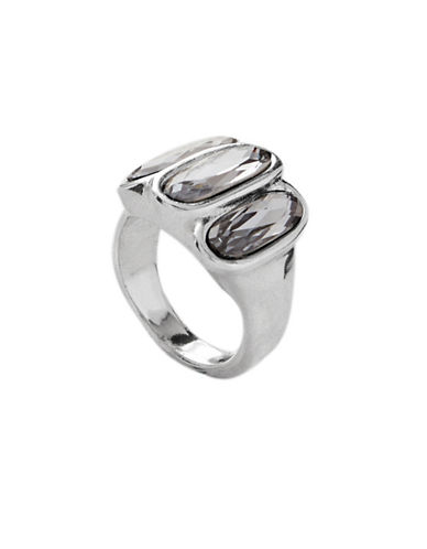 Uno De 50 Swarovski Crystal and Silver Stronger Cocktail Ring-GREY-7