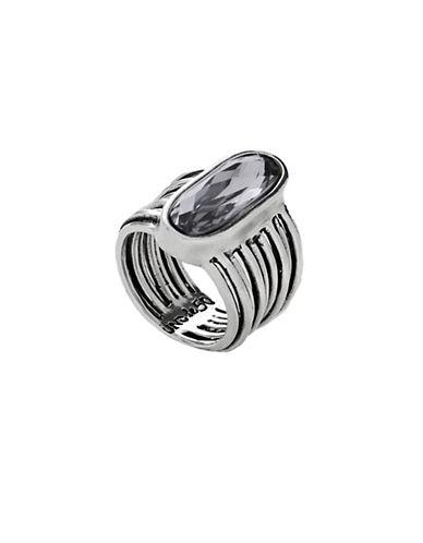 Uno De 50 Swarovski Crystal and Silver Ring-SILVER-7