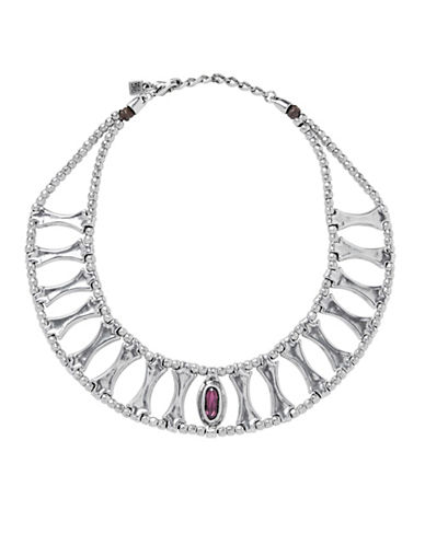 Uno De 50 Swarovski Crystal and Silver Guardian Necklace-PURPLE-One Size