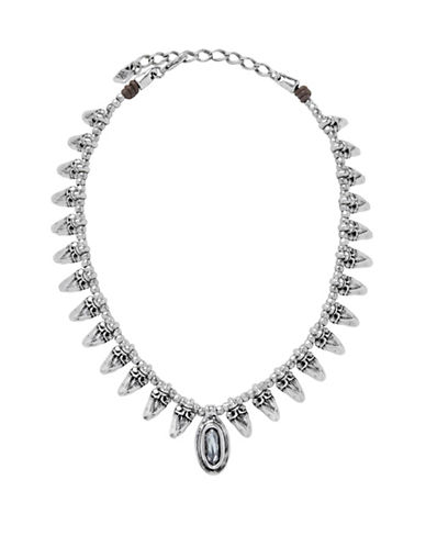 Uno De 50 Swarovski Crystal and Silver Arrow Me Necklace-GREY-One Size