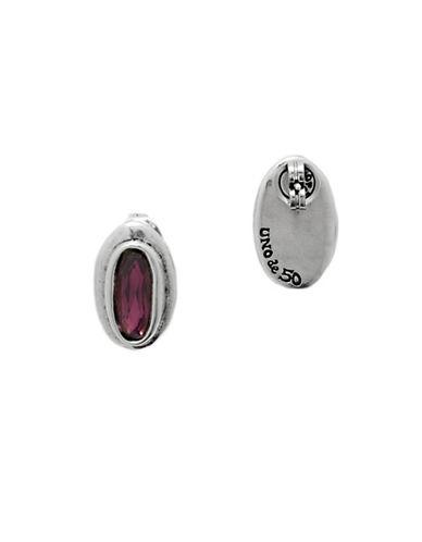 Uno De 50 Swarovski Crystal and Silver Stud Earrings-PURPLE-One Size