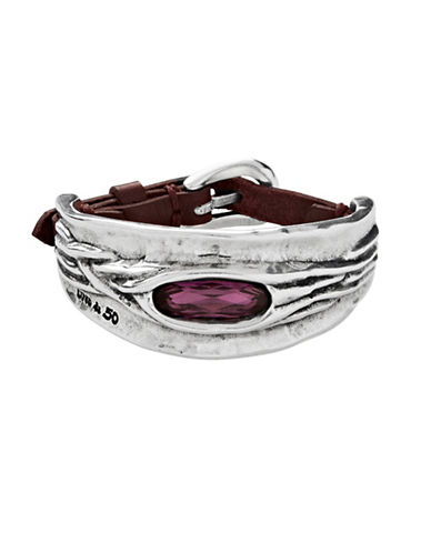 Uno De 50 Swarovski Crystal and Silver Bracelet-PURPLE-One Size